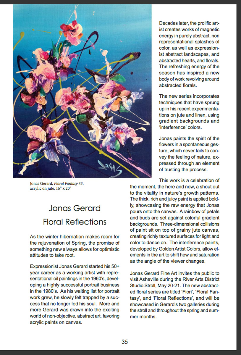 "Jonas Gerard ""Floral Reflections"" article in artGuide magazine."